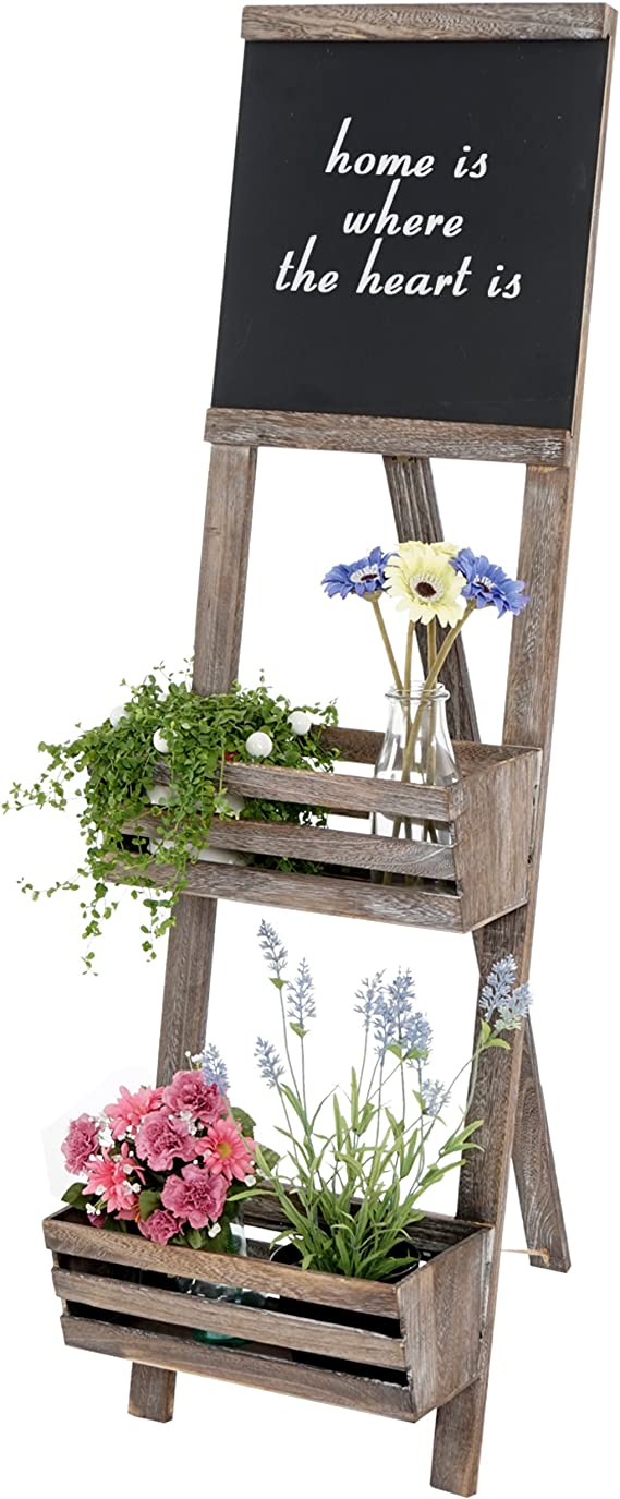 Estantería con pizarra, estantería Jardinera para Plantas Soporte, 117 x 34 x 58 cm Shabby Look Vintage ~ marrón: Amazon.es: Juguetes y juegos