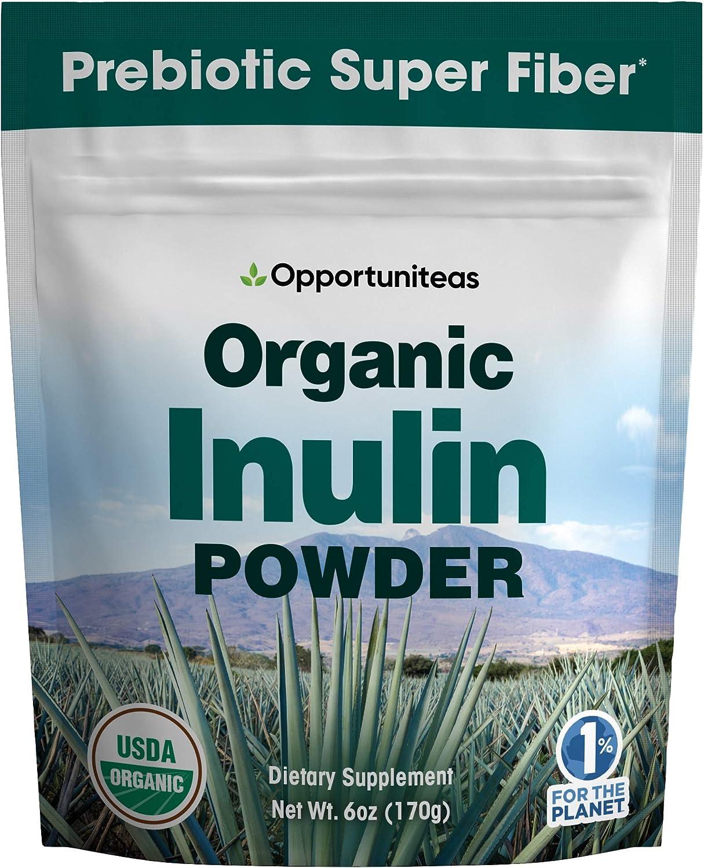 Organic Inulin Powder - Prebiotic Super Fiber Made from 100% Organic Blue Weber Agave - Alternative Sweetener That Supports Digestion, Regularity, and Gut - Non GMO, Vegan, Gluten Free - 6 oz