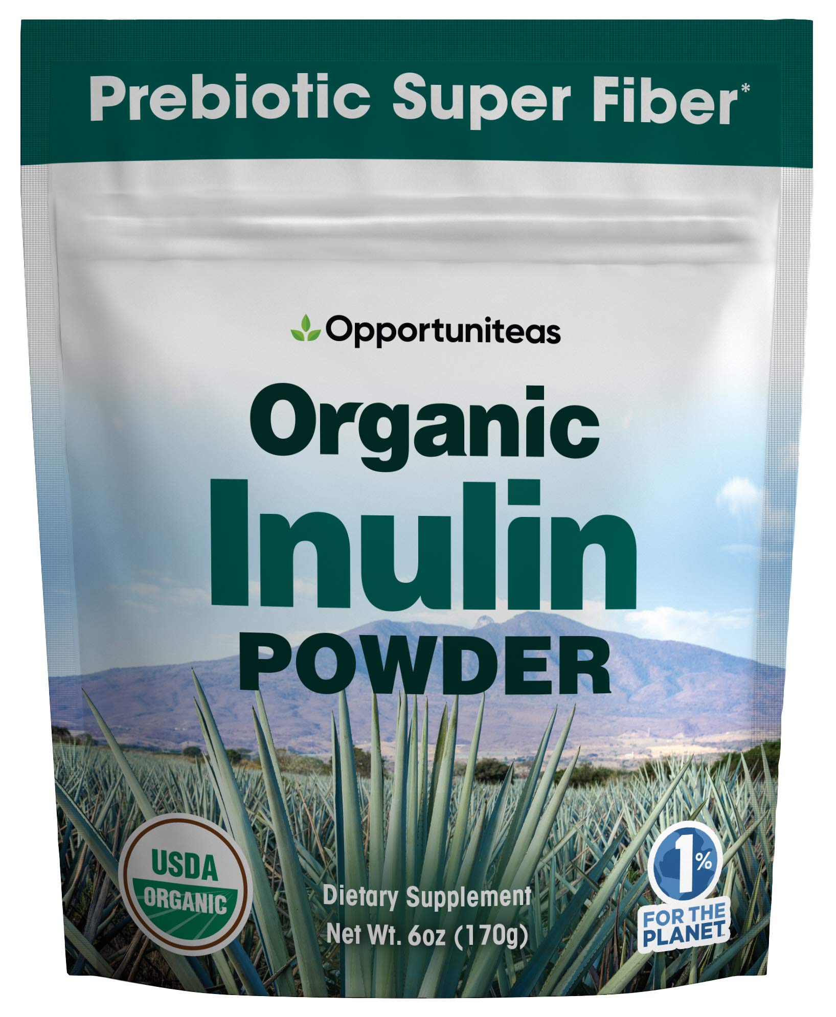 Organic Inulin Powder - Prebiotic Super Fiber Made from 100% Organic Blue Weber Agave - Alternative Sweetener That Supports Digestion, Regularity, and Gut - Non GMO, Vegan, Gluten Free - 6 oz by Opportuniteas