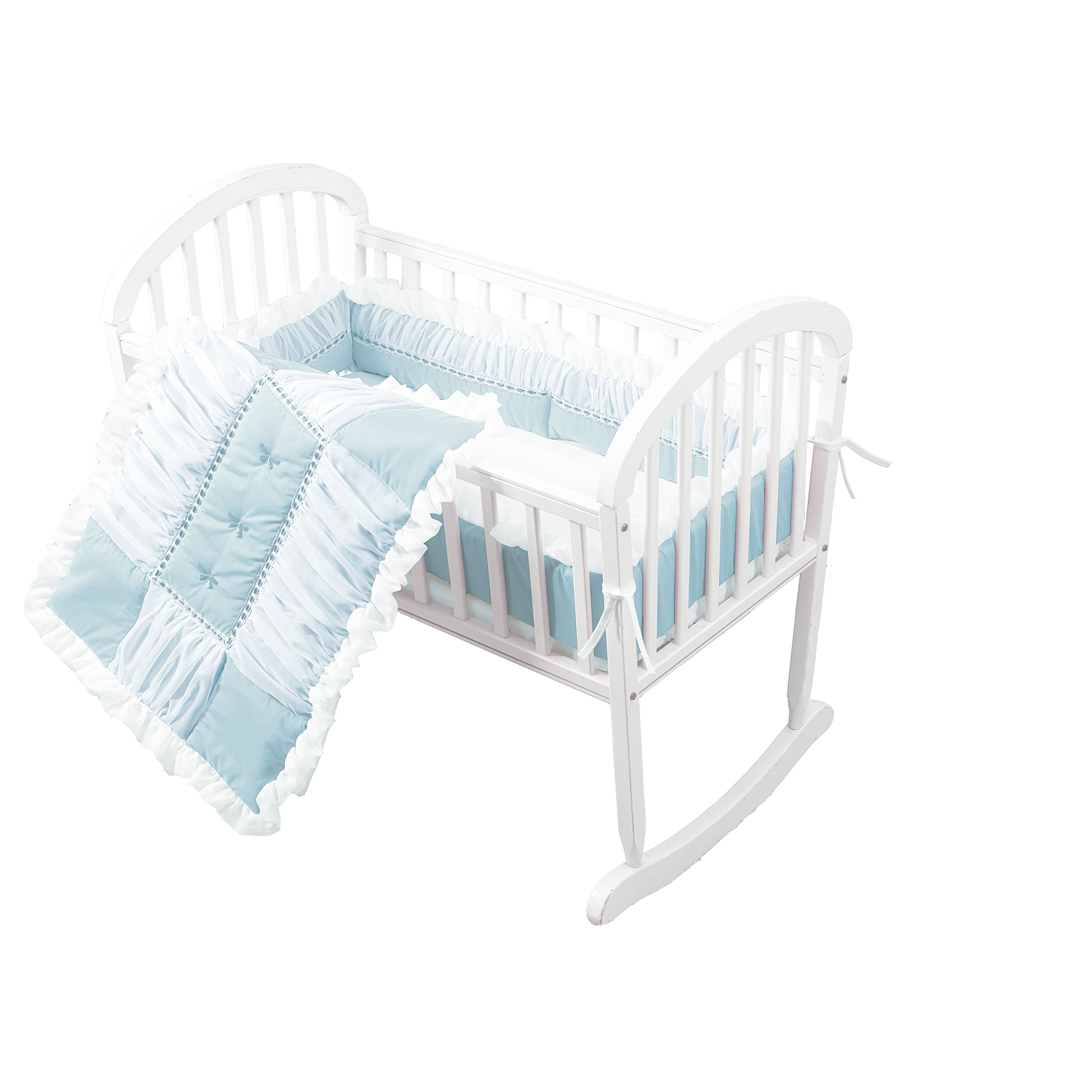 Baby Doll Sweet Touch Baby 3 Piece Cradle Bedding Set, Blue by Baby Doll