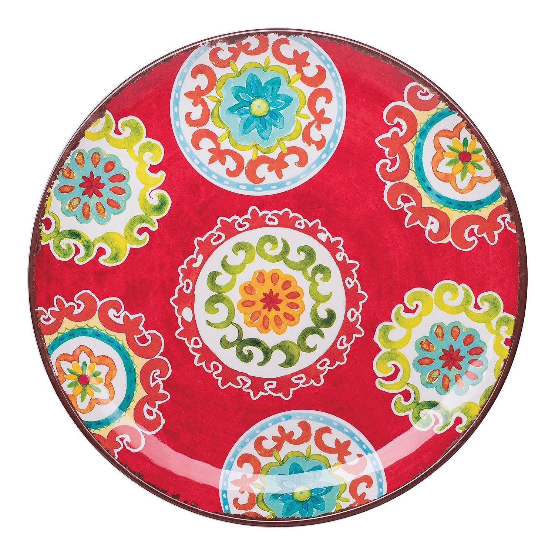 18 Piece Melamine Dinnerware Set Medallion Pattern Blue