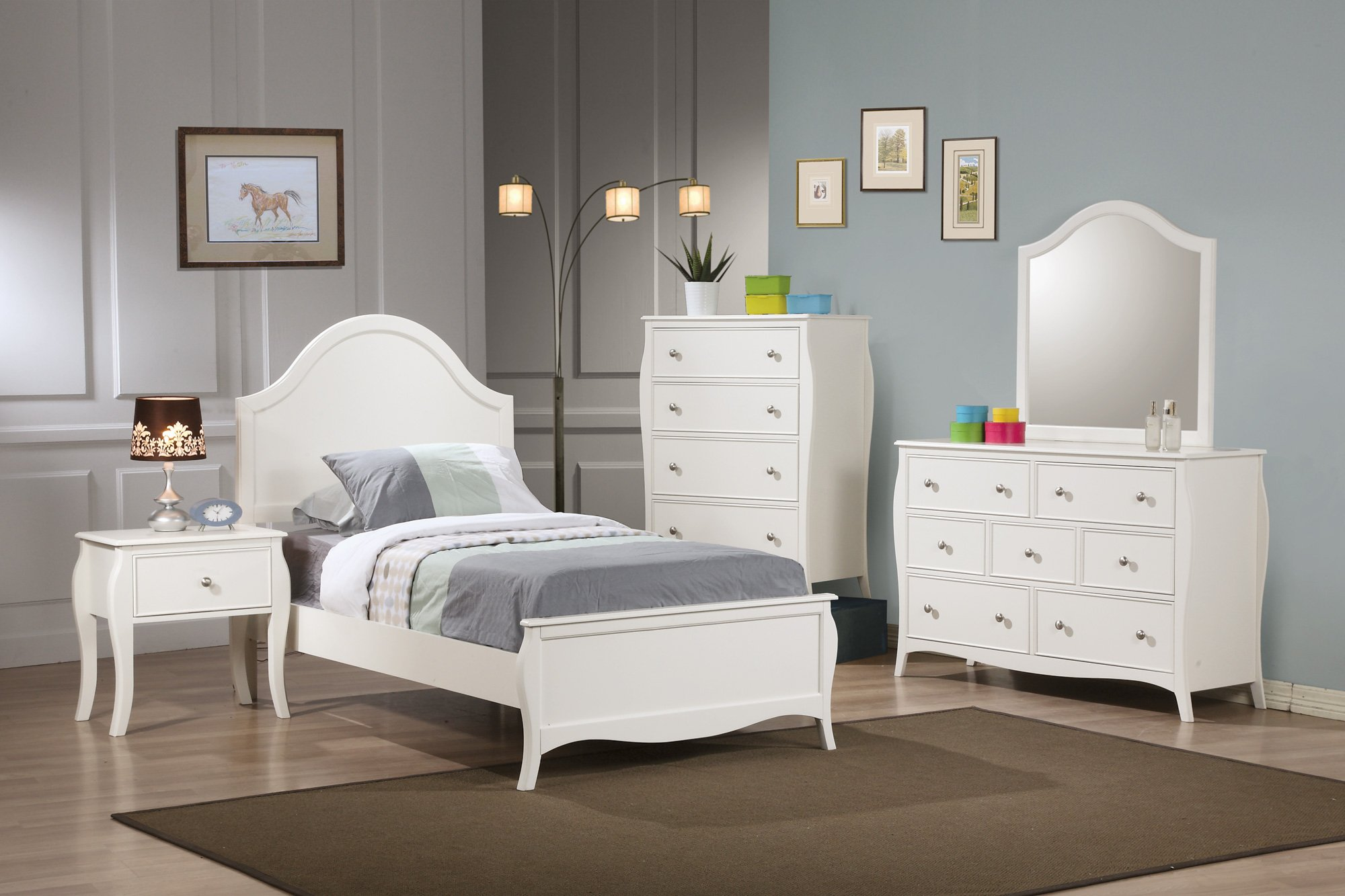 Coaster Pepper 4 Piece Full Panel Bedroom Set in White