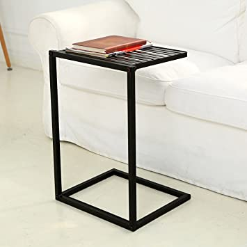 Nice MyGift Slide Under Sofa Side Table, Metal Slats Snacks And Laptop Tray,  Black