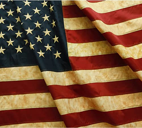 Anley Vintage Style Tea Stained American US Flag 3x5 Foot Nylon - Embroidered Stars and Sewn Stripes - 4 Rows of Lock Stitching - Antiqued USA Banner Flags with Brass Grommets 3 X 5 Ft