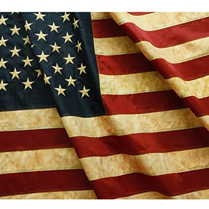 Anley Vintage Style Tea Stained American US Flag 3x5 Foot Nylon ,  Embroidered Stars and Sewn Stripes , 4 Rows of Lock Stitching , Antiqued  USA Banner
