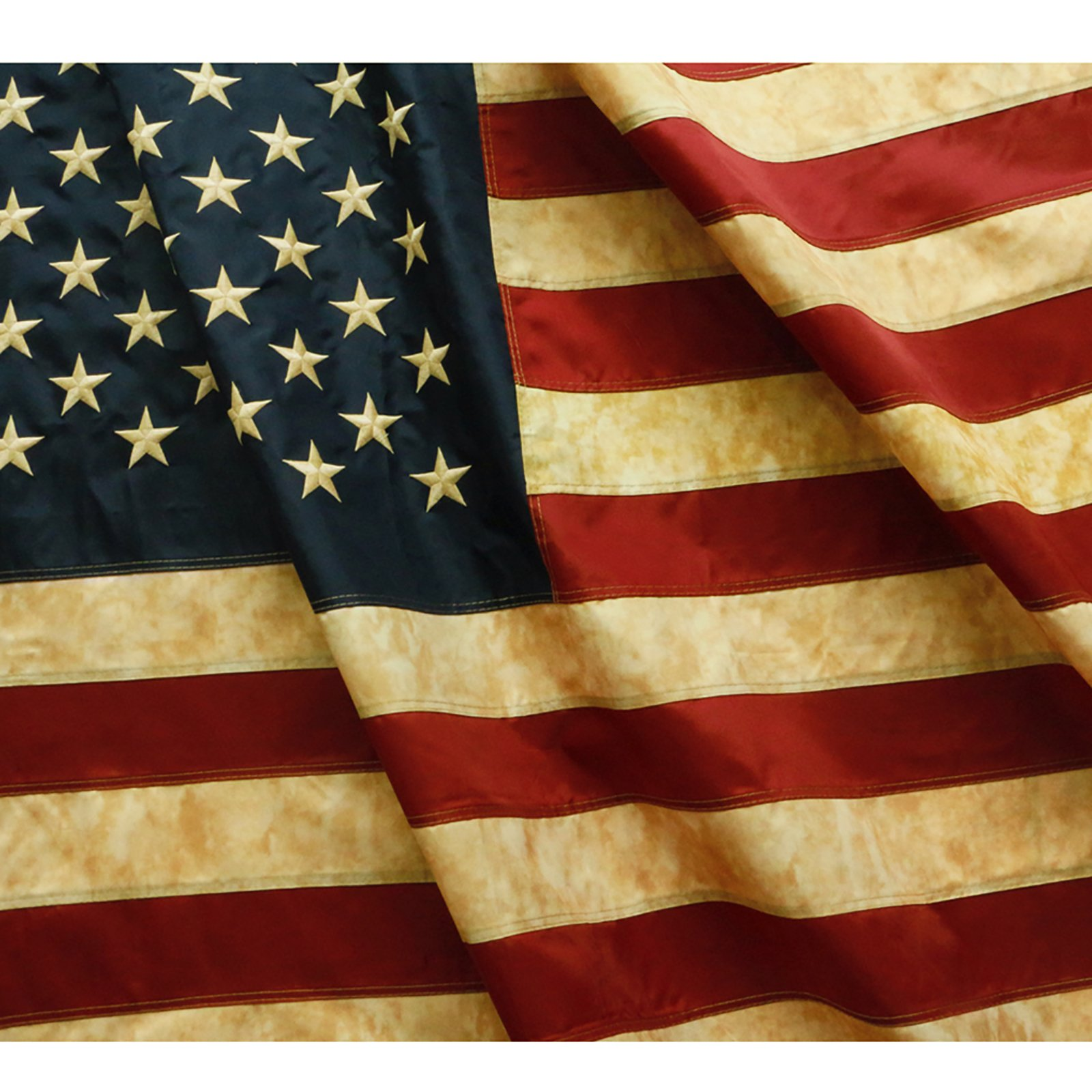 Anley [Vintage Style Tea Stained American US Flag 3x5 Foot Nylon - Embroidered Stars and Sewn Stripes - 4 Rows of Lock Stitching - Antiqued USA Banner Flags with Brass Grommets 3 X 5 Ft