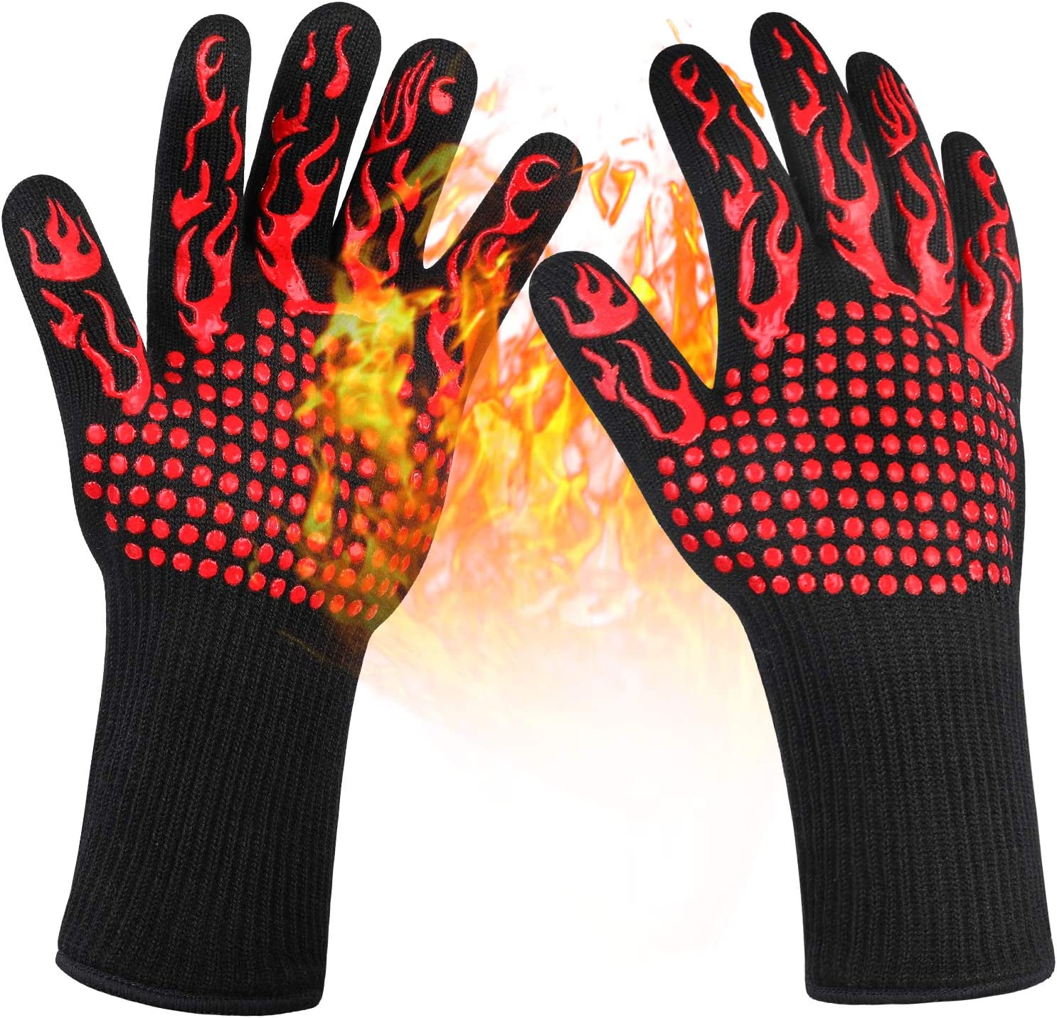 Grilling Gloves 1472°F Heat Resistant Gloves,Food Grade Kitchen BBQ Gloves,Silicone Non-Slip Grill Gloves for Barbecue,Cooking,Baking,Welding,Cutting