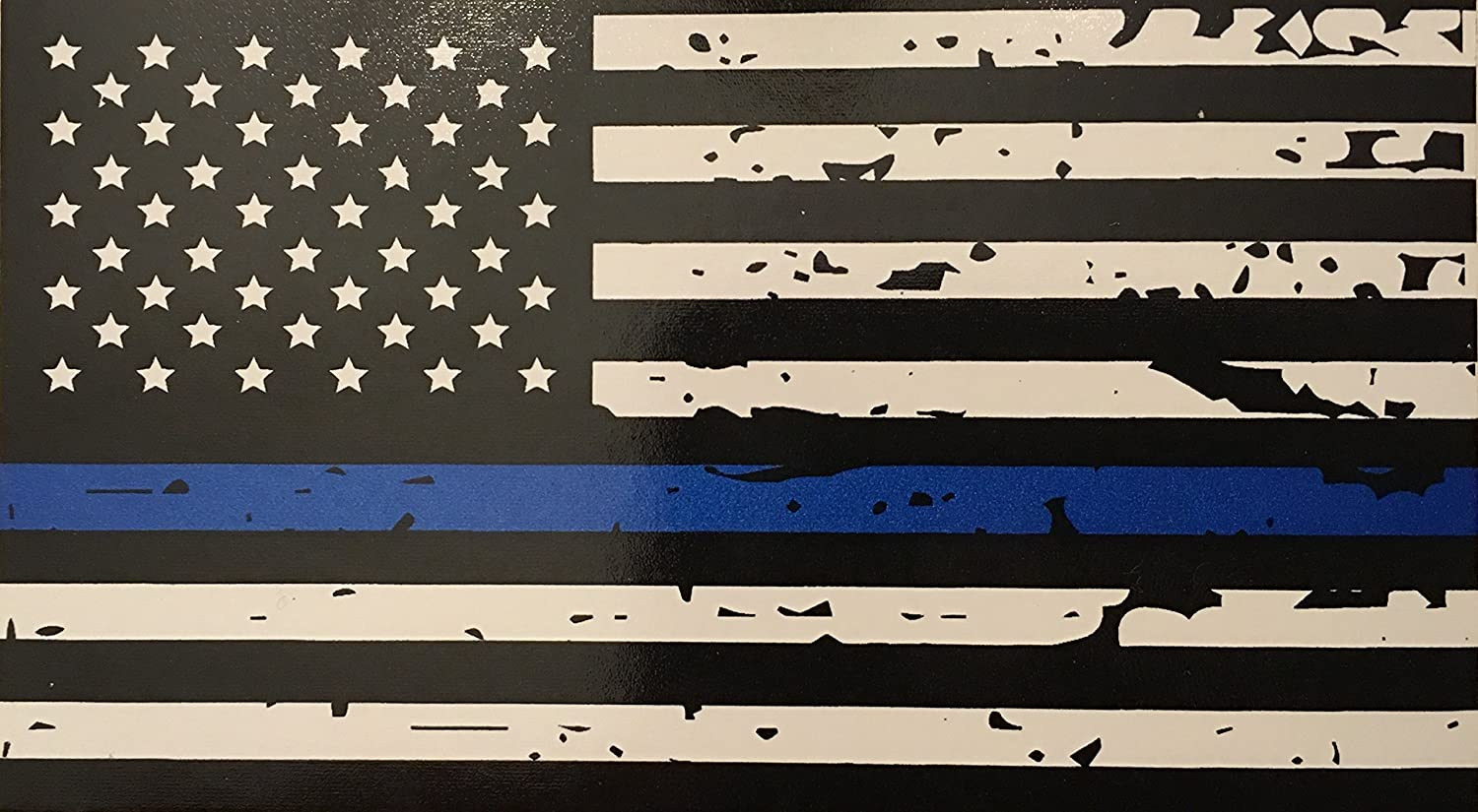 Amazon com blueline flags tattered thin blue line vinyl reflective decal black white blue american flag sticker honoring our men women of law