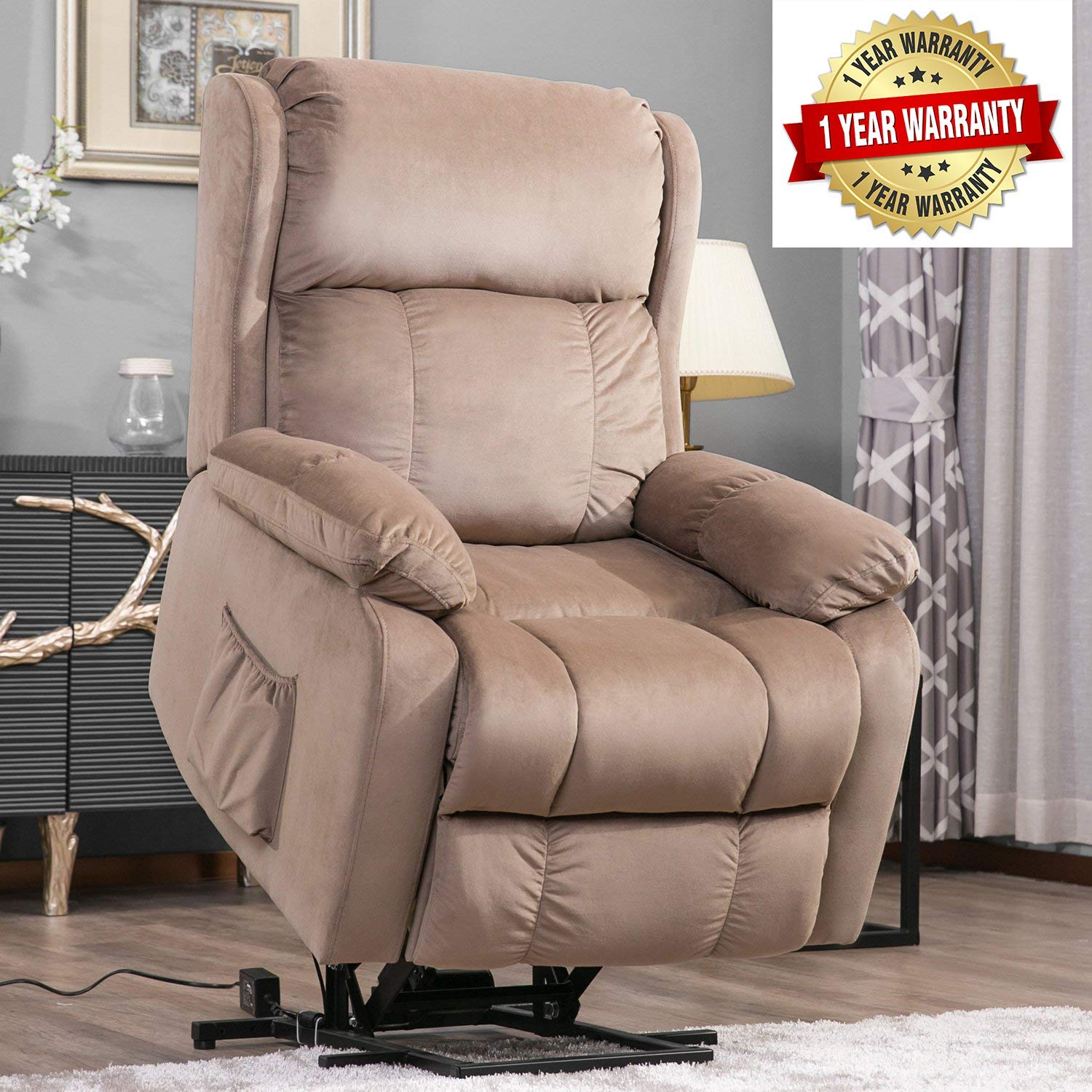 Harper&Bright Designs Power Lift Chair Soft Fabric Upholstery Recliner Living Room Sofa Chair with Remote by Harper & Bright Designs