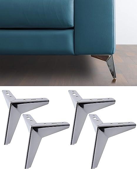 IPEA Juego de 4 Patas para sofás y Muebles Modelo Jazz - Juego de 4 Patas de Hierro - Diseño Moderno y Elegante Color Cromado - Altura 135 mm