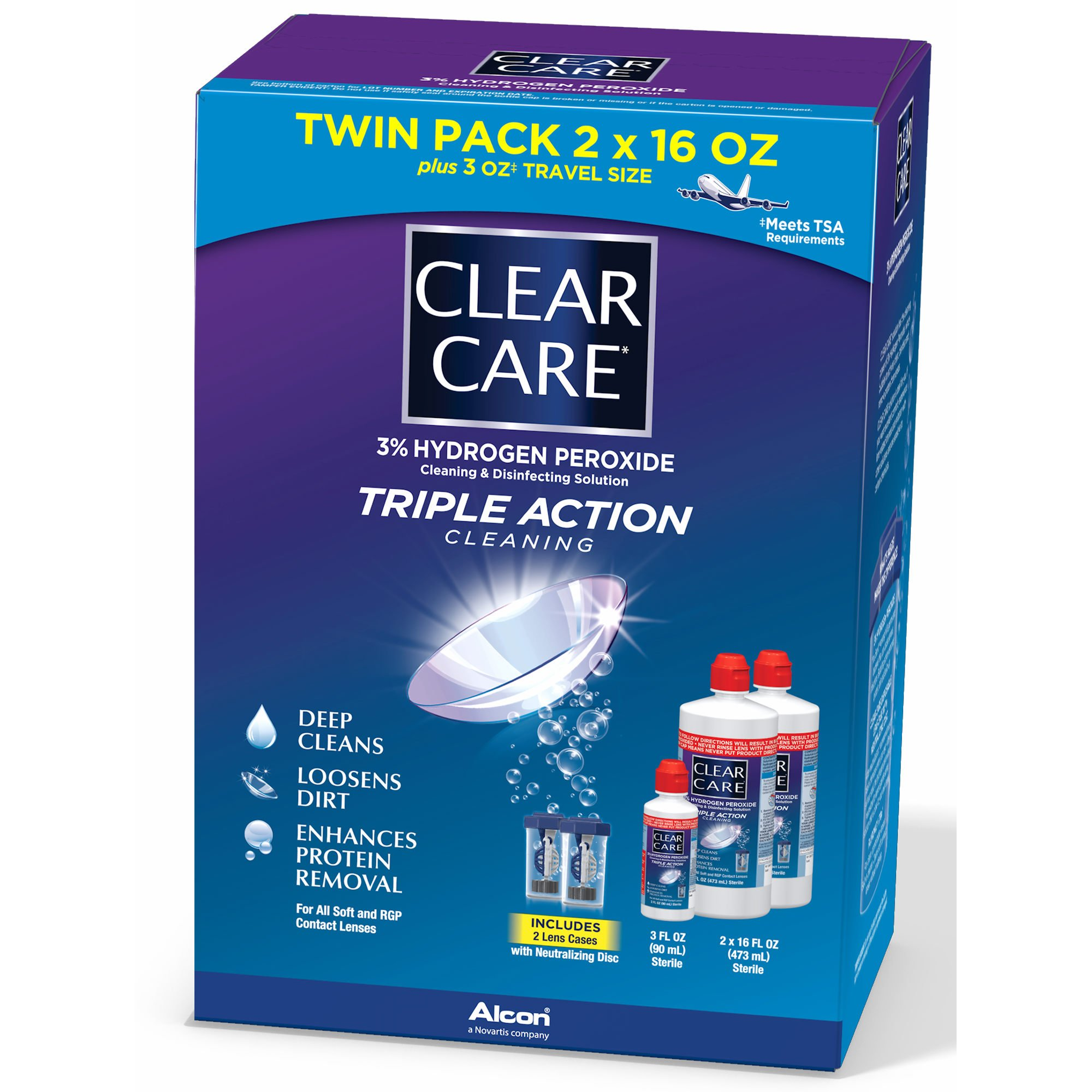 Clear Care Contact Lens Care Solution, 2 pk./16 fl. oz. with Bonus Travel Size, 3 fl. oz. and 2 Lens Cases (pack of 6)