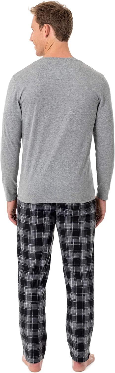 CHAPS Mens Jersey Henley and Microfleece Pajama Set Pajama Set