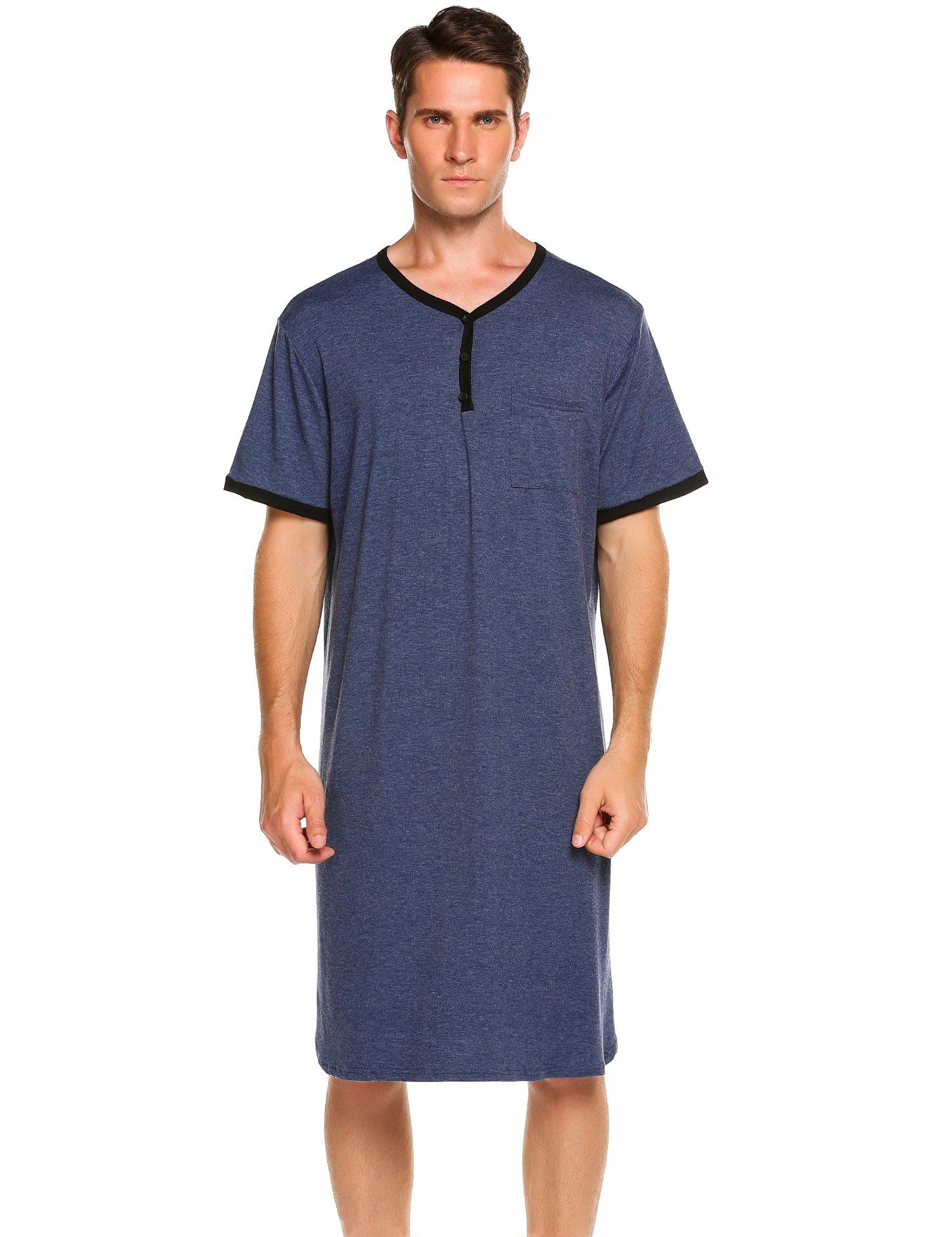 Ekouaer Men's Sleepwear Cotton Nightwear Kaftan Nightshirt (Blue, X-Large)
