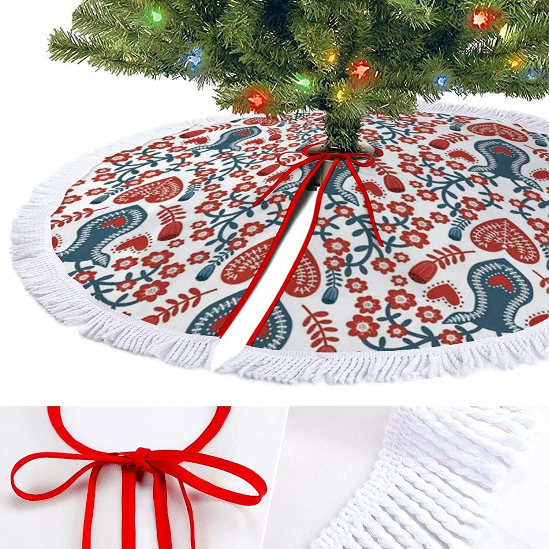 ODOKAY Christmas Moose Christmas Tree Skirt for Indoor Outdoor Holiday Decor Tassel Border Rustic Xmas Tree Skirts