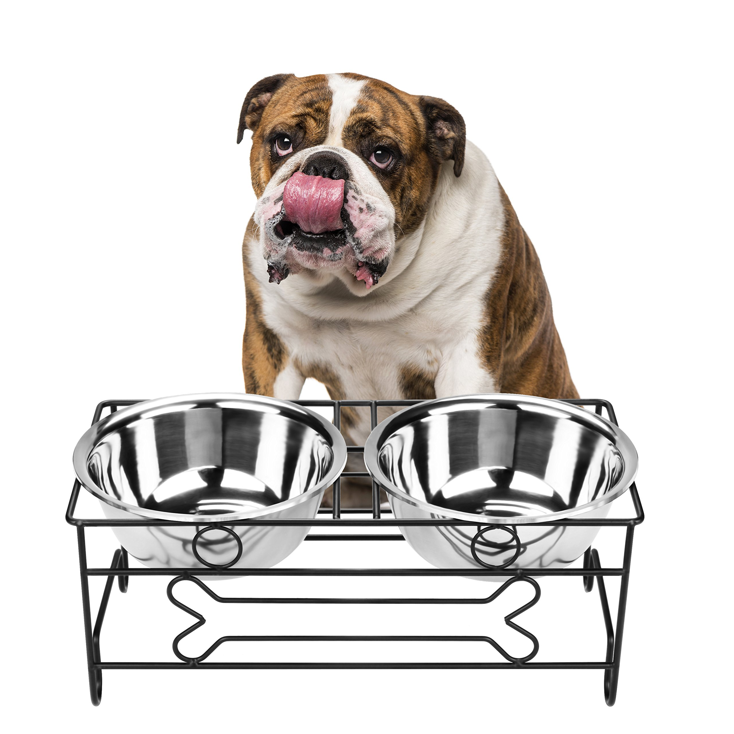 VIVIKO Bone Style Pet Feeder for Dog Cat, Stainless Steel Food and Water Bowls with Iron Stand (Large) by VIVIKO