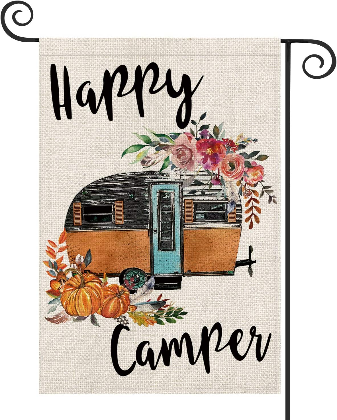 AVOIN Happy Camper Trailer Garden Flag Vertical Double Sized, Fall Autumn Pumpkin Flower Yard Outdoor Decoration 12.5 x 18 Inch