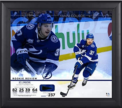 Yanni Gourde Tampa Bay Lightning Framed 15 quot  x 17 quot  Rookie Review  Collage with Piece 0ccb9366f