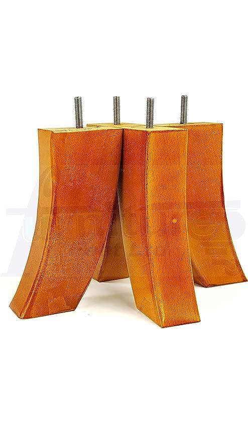 4x en bois massif Rétro remplacement jambes meuble canapé fauteuils canapés M8 8 mm