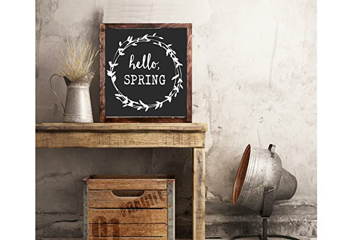 Hello Spring Wreath FRAMED Hand Painted Rustic Wood Sign Distressed Wall Decor Easter Floral