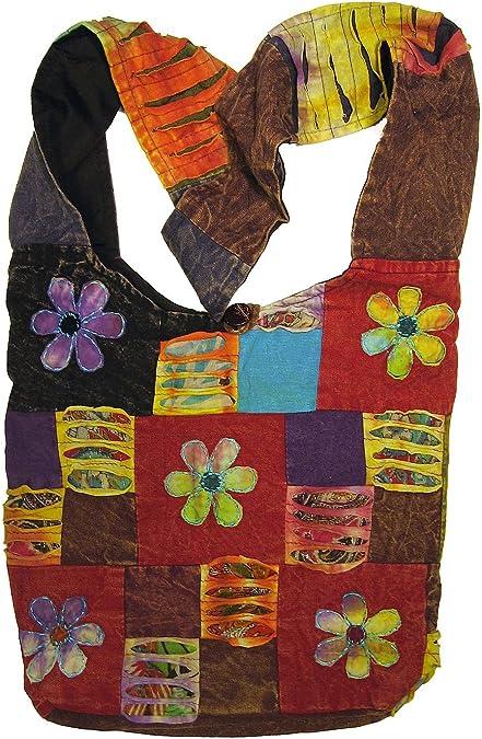Bohemian Embroidered Ripped Razor Cut Crossbody Hippie Purse Handbag AND Backpack