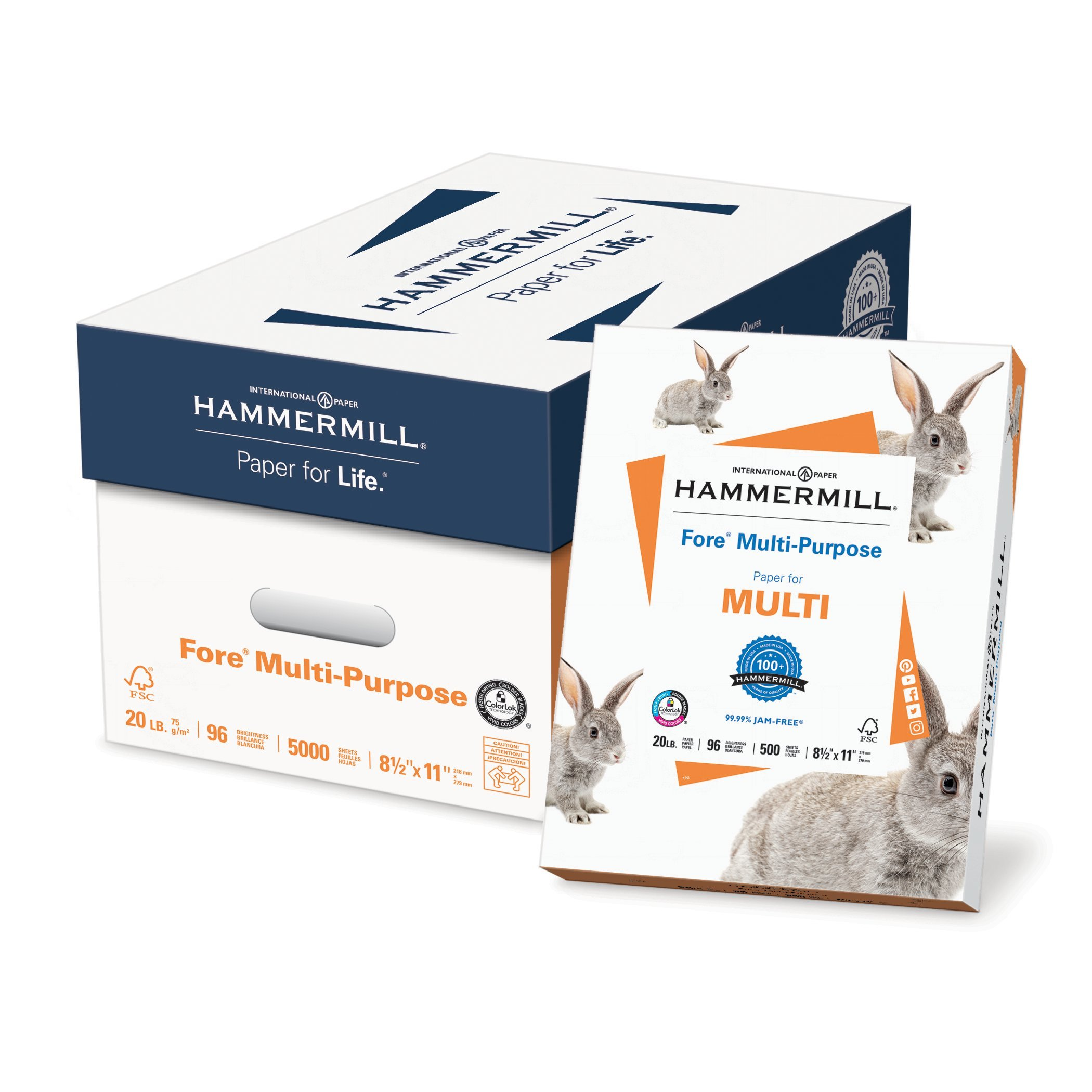 Hammermill Paper, Fore Multipurpose Paper, 8.5 x 11 Paper, Letter Size, 20lb Paper, 96 Bright, 10 Reams / 5,000 Sheets (103267C) Acid Free Paper by Hammermill