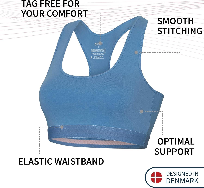 DANISH ENDURANCE Women/'s Organic Cotton Bralette 3 Pack Black Blue Grey Comfort Bra