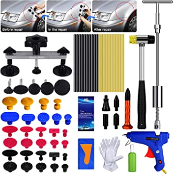 Minor dents and Hail Damage YOOHE Car Dent Puller Auto Body Repair Tool Kit with Double Pole Bridge Dent Puller and Dent Puller Tabs for Car Dent Removal