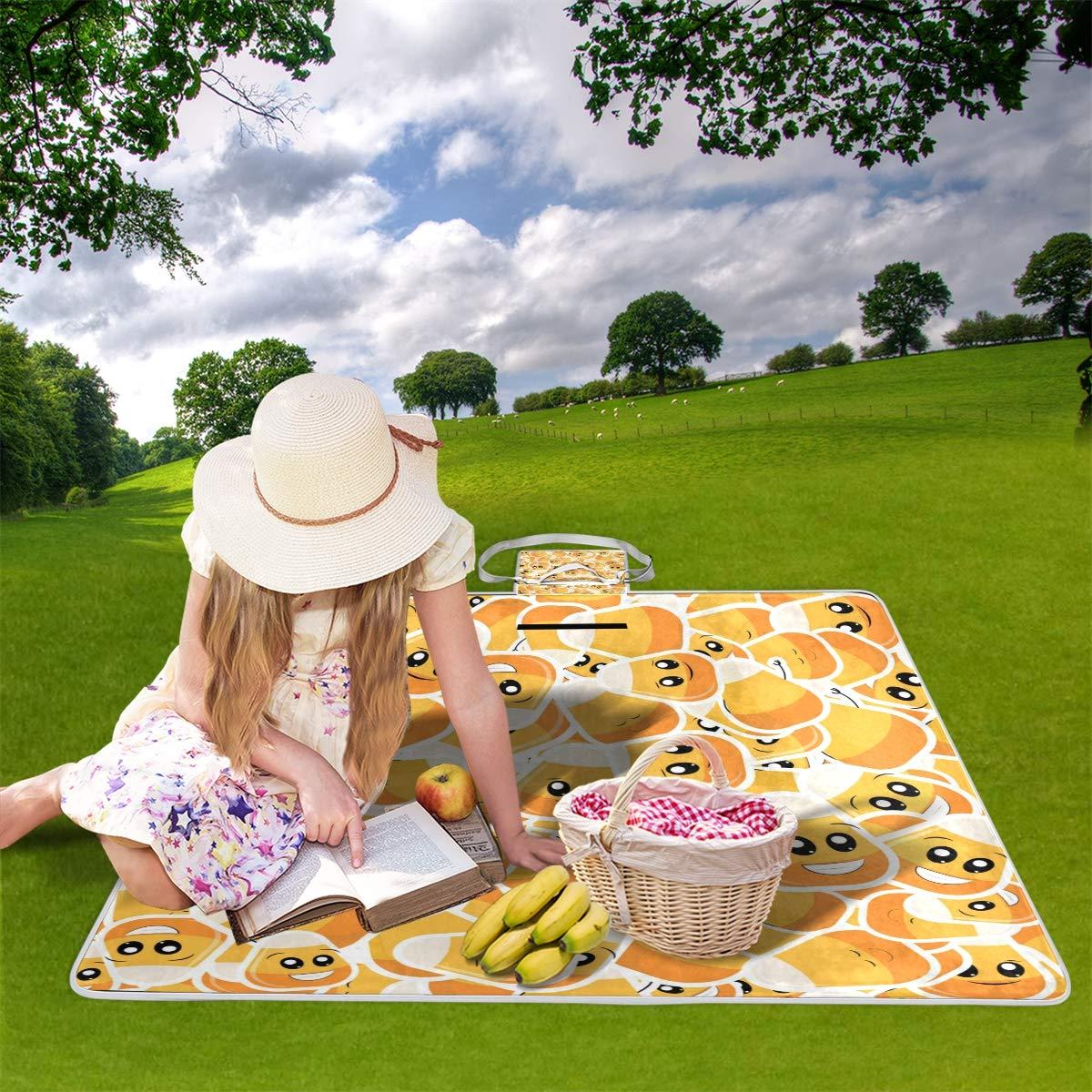 jeansame - Manta de pícnic, diseño de Emoticono de Calabaza Yoga, de Halloween, para Camping, Viajes, Senderismo, Yoga, Calabaza Impermeable, portátil, Plegable, 150 x 145 cm 3f5a5f