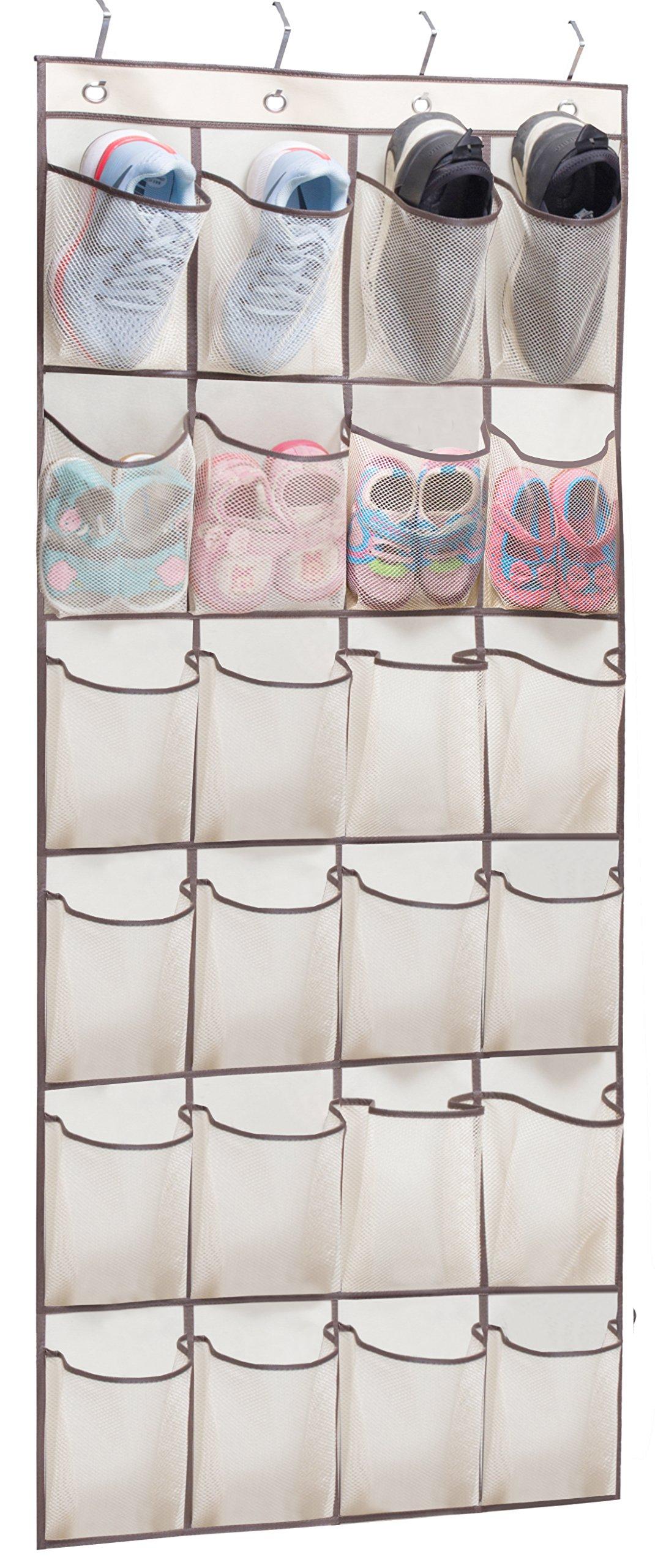 KIMBORA Over The Door Hanging Shoe Organizer 24 Large Clear Mesh Pockets Shoe Hanger, Beige
