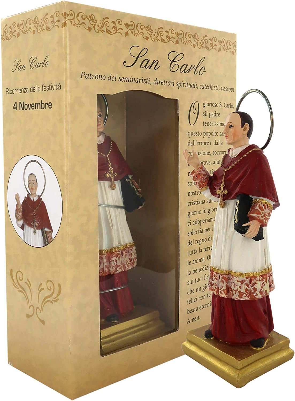Ferrari & Arrighetti St. Charles Borromeo Small Statue (12 cm) with Gift Box and Paper Bookmark in Italian
