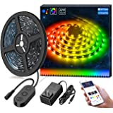 MINGER DreamColor LED Strip Lights Built-in IC, 16.4ft/5m LED Lights Sync to Music, Waterproof RGB Rope Light with APP, 300 Leds SMD 5050 Flexible Strip Lighting, LED Tape Lights, DC 12V UL Listed