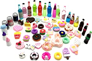 NHW 60 Pieces of Miniature Food and Drink and Doll House Decoration Accessories Mini Cake Food Children's Toys (Blue)