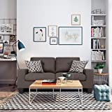 LANGRIA Fabric Sofa Couch, Linen Upholstered Loveseat Sofa Set for 1 or 2 People, 58 inches/147 cm, Brown