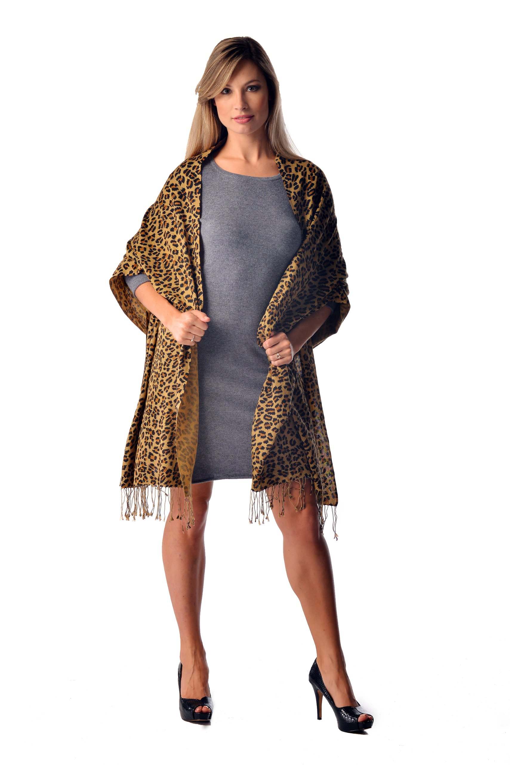 Leopard Print Pashmina Shawl (Leopard) by Cashmere Boutique