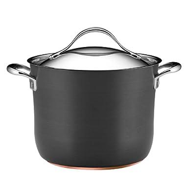 Anolon Nouvelle Copper Nonstick 8-Quart Covered Stockpot, Dark Gray