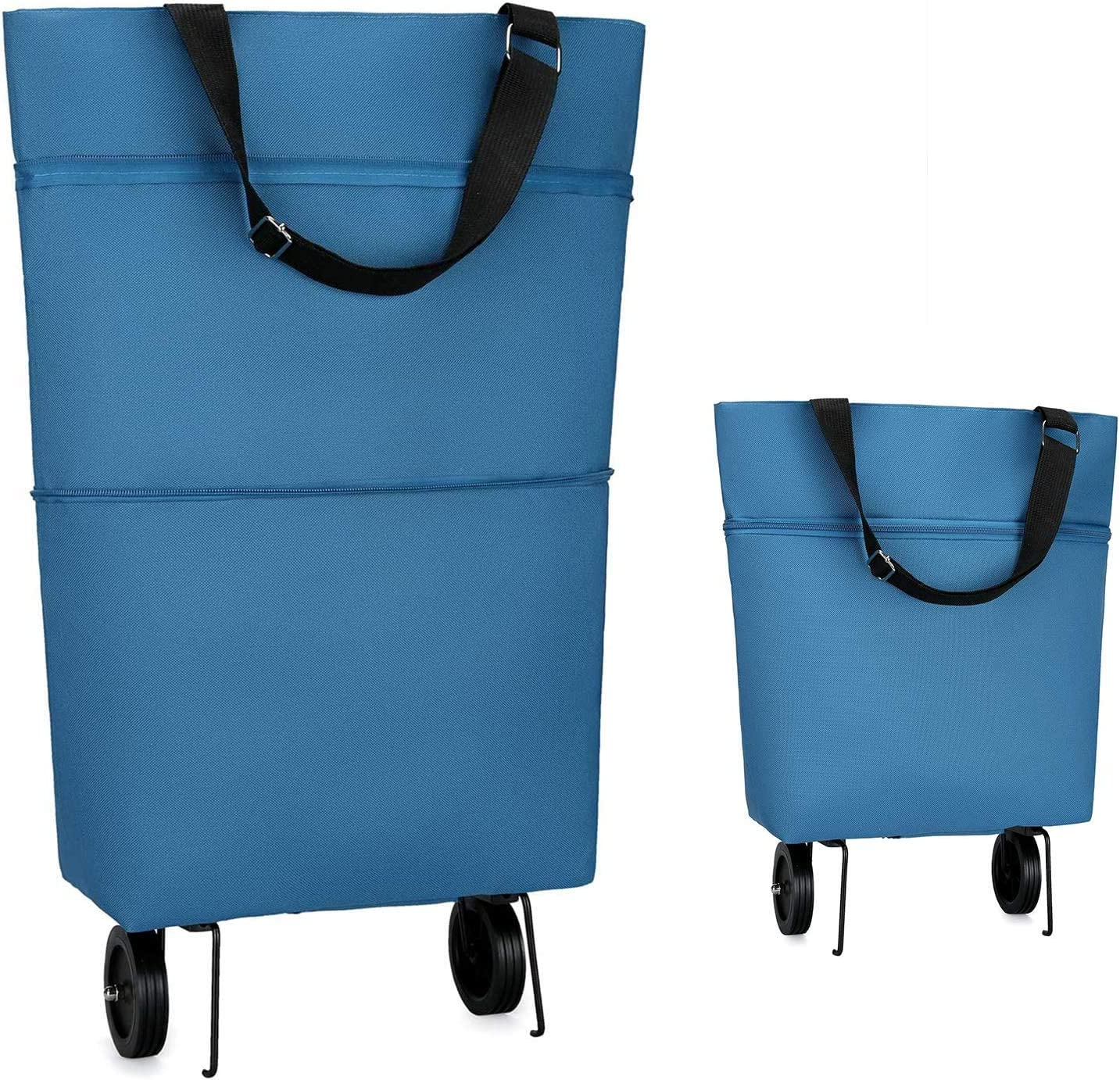 Reusable Grocery Bags with Wheels COCOCKA Foldable Shopping Bags Large Capacity Produce Bags for Grocery for Shopping,Fruits,Vegetables,Grocery Cart Waterproof interior(Blue)