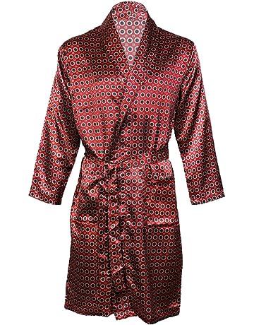 Hombres de satén Albornoz Kimono Túnica, satén Conjuntos de Pijama camisón Transparente