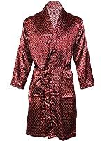 Harvey James Men's Satin Dressing Gown Robes Kimono, Satin Pyjama Sets Nightdress
