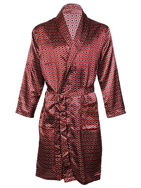 Harvey James Hombres de satén Albornoz Kimono Túnica, satén Conjuntos de Pijama camisón Transparente Rojo