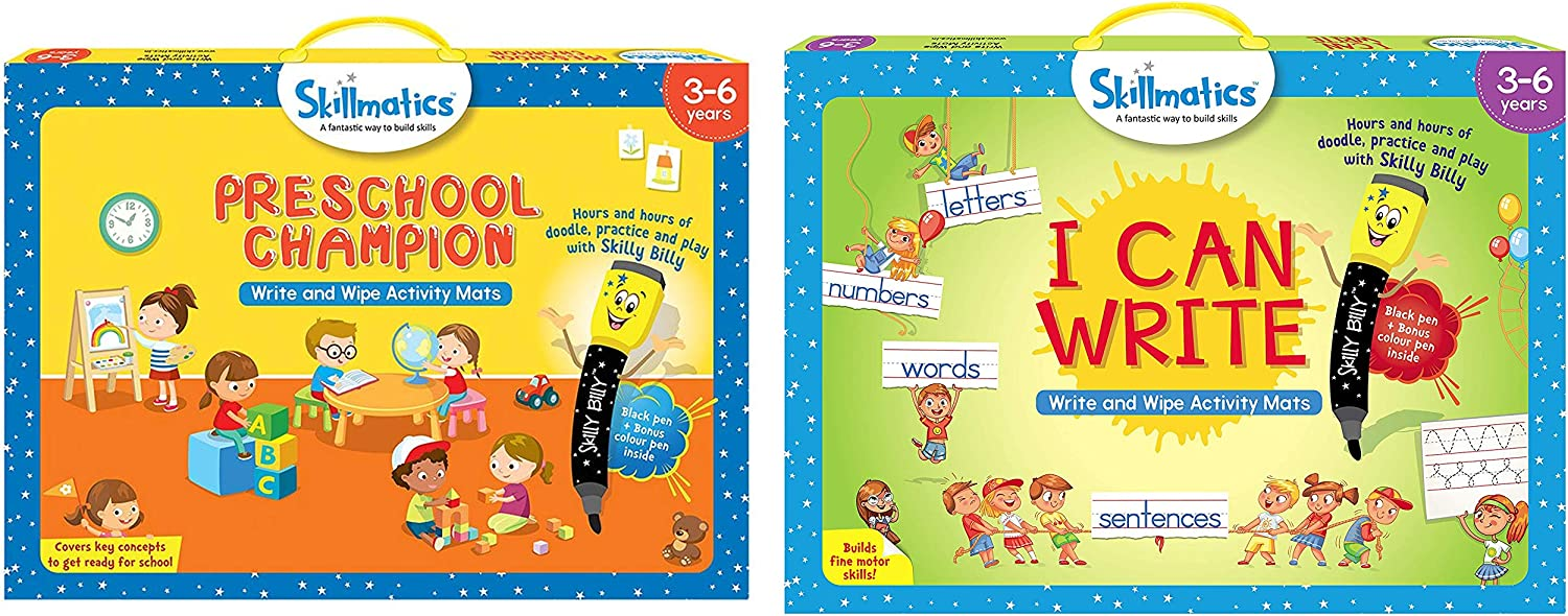 Skillmatics Preschool Champion + I Can Write Bundle (Ages 3-6) | 12 Reusable Activity Mats with Dry Erase Markers | Learn from Home