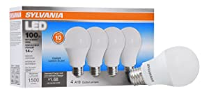 Sylvania Home Lighting 78103 Sylvania Non-Dimmable Led Light Bulb, 14 W, 120 V, 1500 Lumens, 5000 K, CRI 80, 2.375 in Dia X 4.29 in L, Daylight, 4 Piece