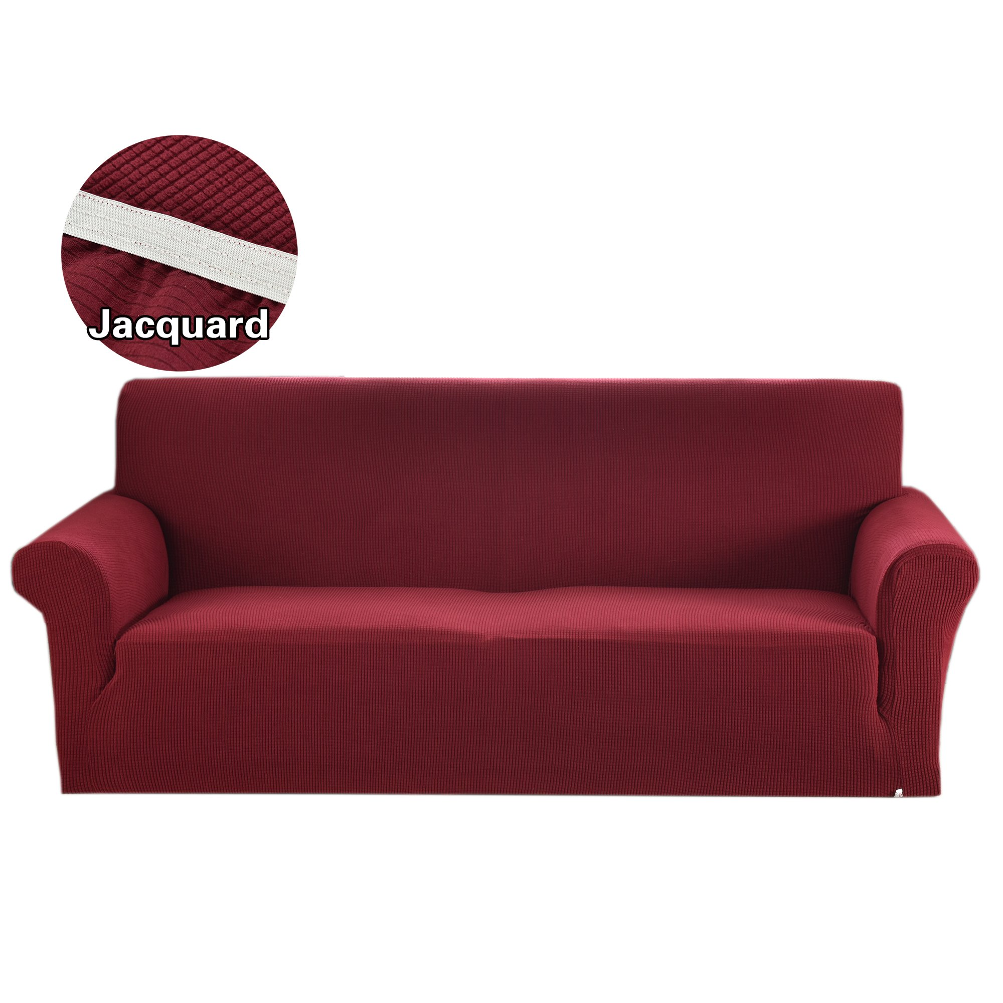 Argstar Jacquard Love Seat Slipcover Soft Elastic Wine Red