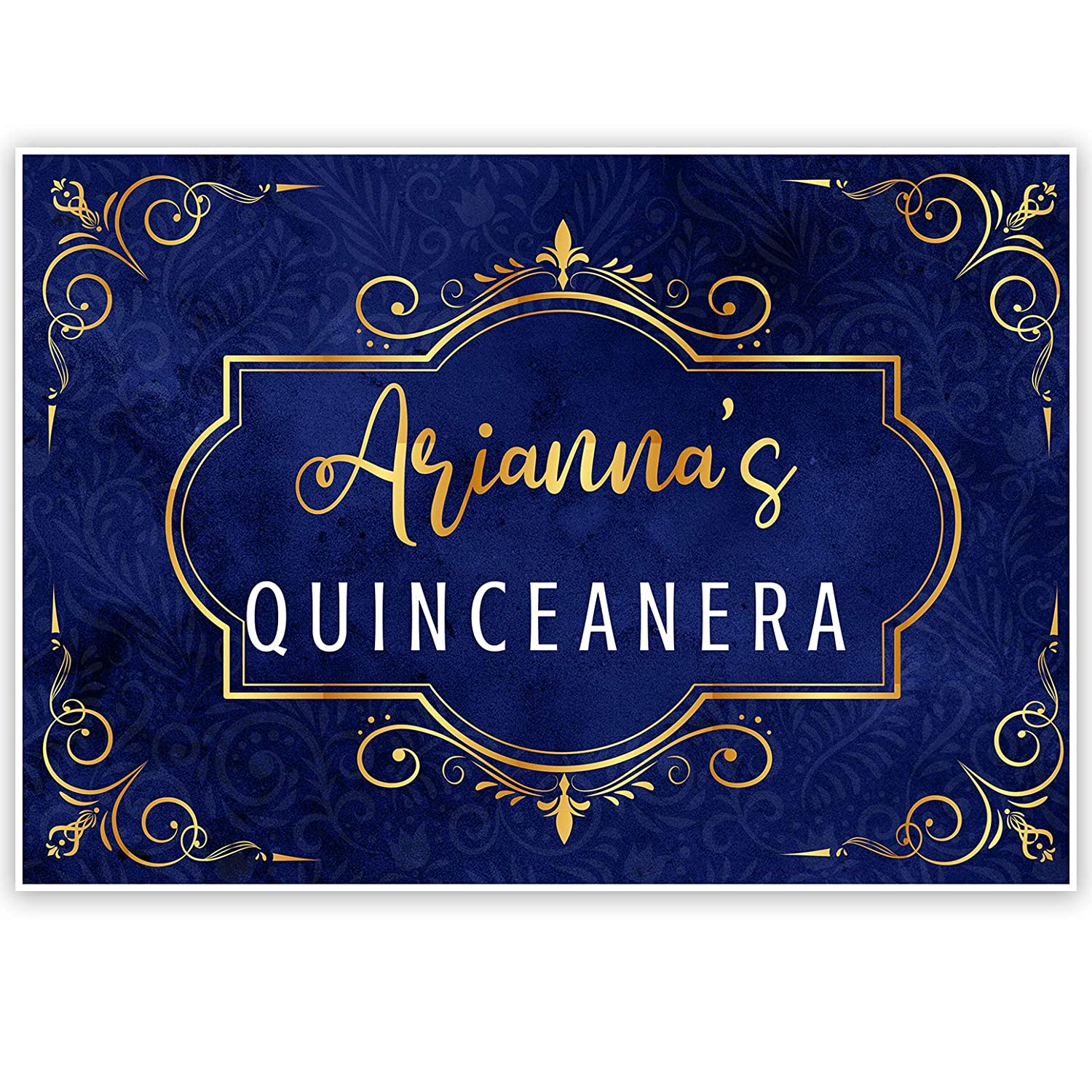 Gold and Royal Blue Quincea/ñera Birthday Banner