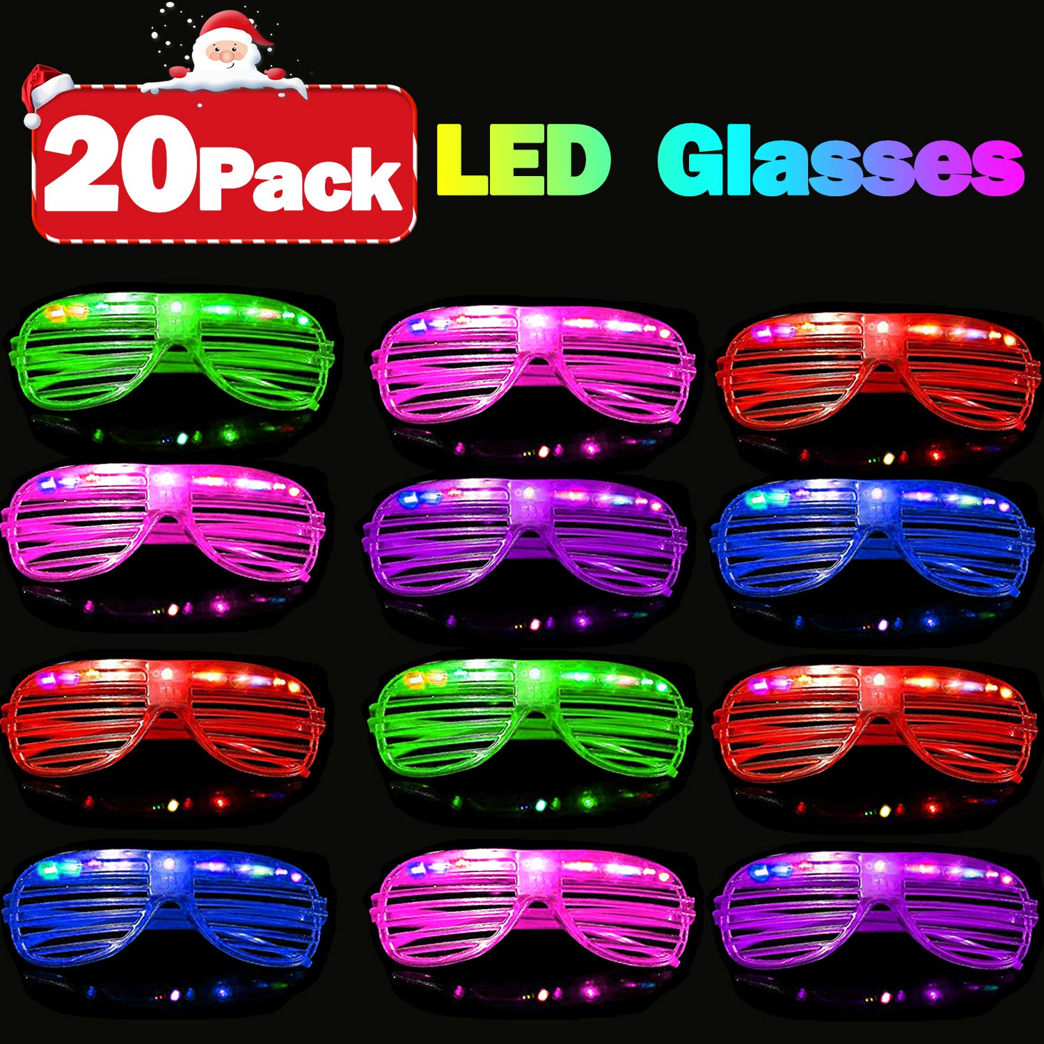 20 Pack Party Favors LED Light Up Glasses Glow in The Dark Party Supplies Toys Flashing Glasses Neon Shutter DJ SunGlasses Parties Decorations Holiday Birthday Gifts for Adult Kids by CHARMCZ (Image #7)