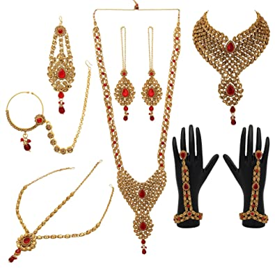 Red Lct Polki Gold Tone Indian Bollywood Bridal Dulhan Women Jewelry Set 9 Pcs At All Costs Bridal & Wedding Party Jewelry