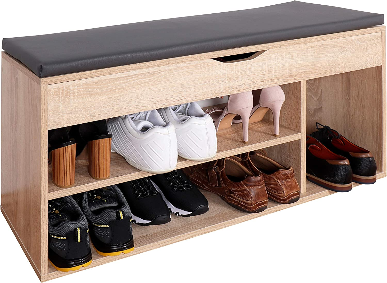 RICOO WM034-ES-A Banco Zapatero 104x49x30cm Armario Interior con Asiento Organizador Zapatos Mueble recibidor Perchero Madera Roble marrón