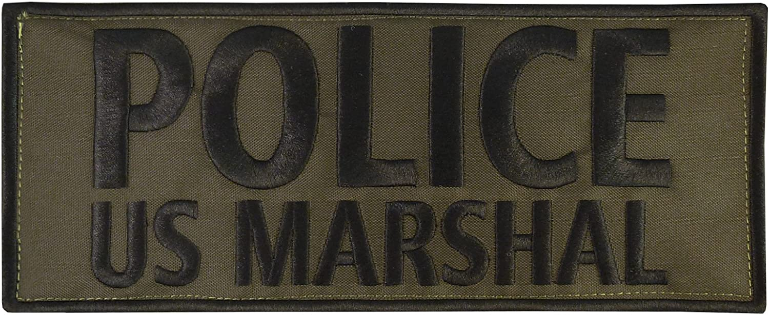 2AFTER1 Olive Drab OD US Marshal Large XL 10x4 inch Blue Line SWAT Hook/&Loop Patch