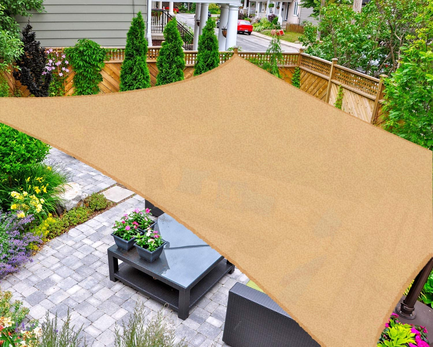 AsterOutdoor Sun Shade Sail Rectangle 10' x 10' UV Block Canopy for Patio Backyard Lawn Garden Outdoor Activities, Sand