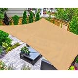AsterOutdoor Sun Shade Sail Rectangle 6' x 10' UV Block Canopy for Patio Backyard Lawn Garden Outdoor Activities, Sand