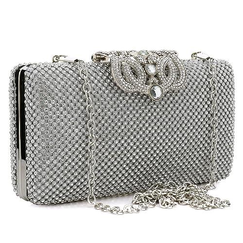 YYW Diamante Clutch Bag - Cartera de mano para mujer Plateado plata: Amazon.es: Zapatos y complementos